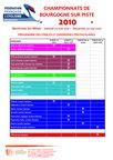 Programme Championnats Bourgogne Piste 2010